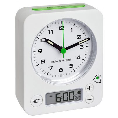 TFA 60.1511.02.04 Radio-Controlled Alarm Clock Combo White/Green 4009816028150