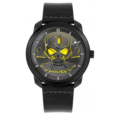 Police PL15714JSB.02 Herrenuhr Bleder Schwarz 4895220913782