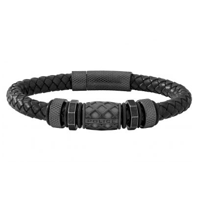 Police PJ26458BLB.01 Leather Men's Braclet Longford 4895220912402