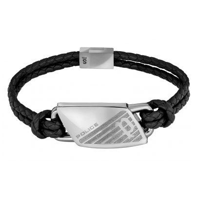 Police PJ26559BLS.01 Leder-Armband für Herren Matobo Schwarz 4895220920452