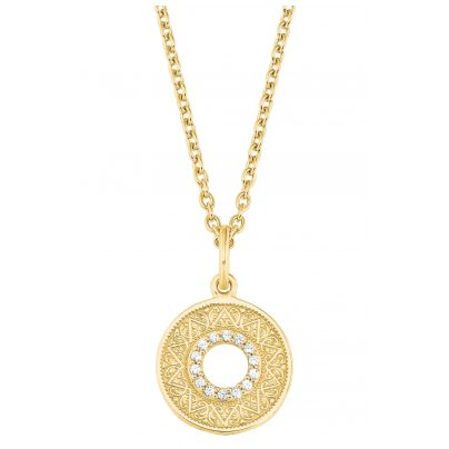 s.Oliver 2027671 Damen-Halskette Kette Silber vergoldet Münzanhänger Zirkonia 4056867021500