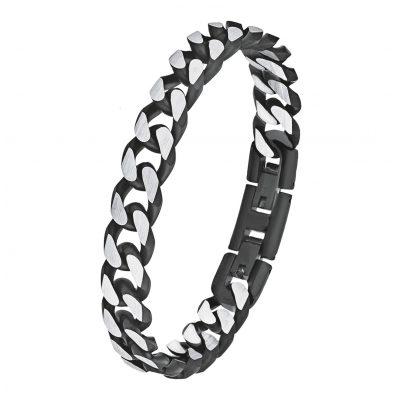 s.Oliver 9954490 Panzer-Armband für Herren Edelstahl Schwarz 4020689954490