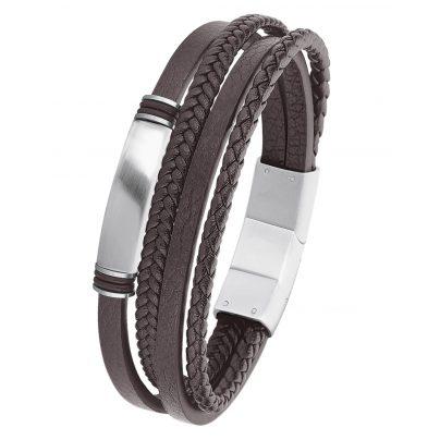 s.Oliver 2022621 Men's Leather Bracelet Brown 4056867011372