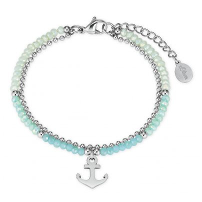 s.Oliver 2027599 Ladies' Bracelet Anchor Stainless Steel Glass Beads 4056867020893