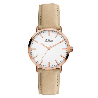 s.Oliver SO-3333-LQ Damen Leder-Armbanduhr 4035608032005