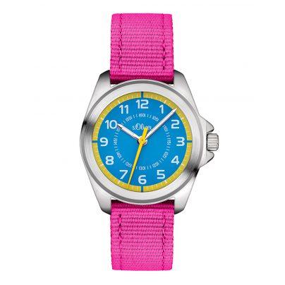 s.Oliver SO-3227-LQ Kinderuhr für Mädchen Pink/Blau 4035608030896