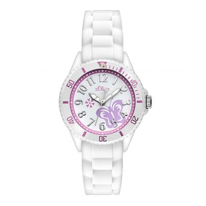 s.Oliver SO-2755-PQ Girls Watch White Butterfly 4035608026172