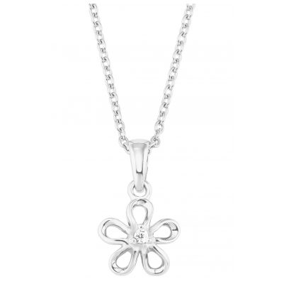 s.Oliver 2027455 Childrens Necklace for Girls Flower Silver 4056867020336