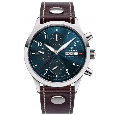 Junkers 9.14.01.12 Men's Watch Chronograph Cockpit Brown / Teal 4250948690894