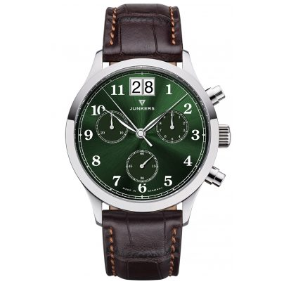 Junkers 9.23.01.06 Herrenuhr Chronograph Großdatum Tante JU Braun / Grün 4250948691846