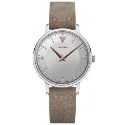 Junkers 9.01.01.07 Damen-Armbanduhr Therese Lederband Taupe / Silber 4250948691921