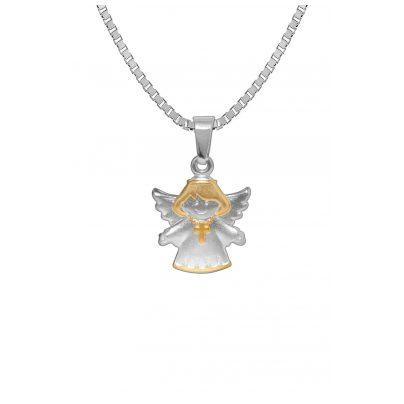 trendor 72771 Silberkette für Kinder mit Engel-Anhänger Bicolor 4260333972771