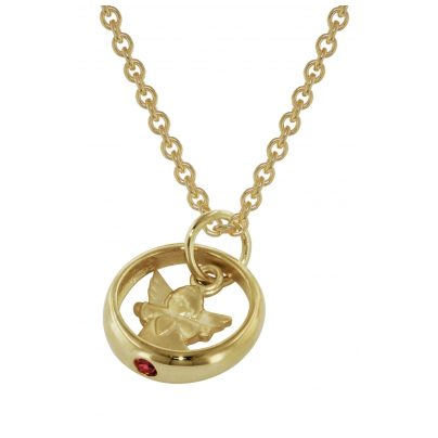 trendor 73464 Gold Christening Ring Pendant with Gold Plated Necklace 4260333973464