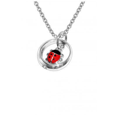 trendor 78209 Silber-Halskette Taufring Anhänger mit Glückskäfer 4260333978209