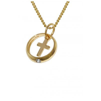 trendor 78278 Gold Christening Ring with Cross on 42 cm Gold-Plated Necklace 4260333978278