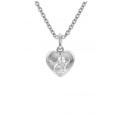 trendor 78858 Silberkette Herz-Anhänger mit Schutzengel für Kinder 4260333978858