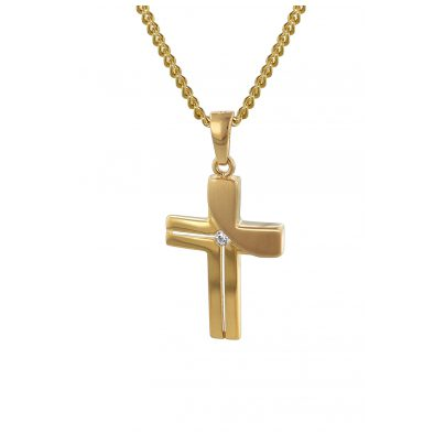 trendor 35728 Gold Cross Pendant on 42 cm Gold-Plated Necklace 4260435357285