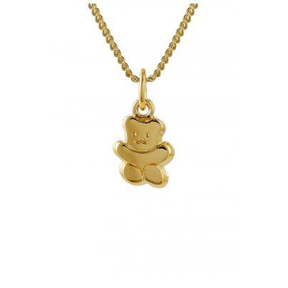 trendor 35738 Kinder Anhänger Teddy Gold 333 mit goldplattierter Halskette 4260435357384