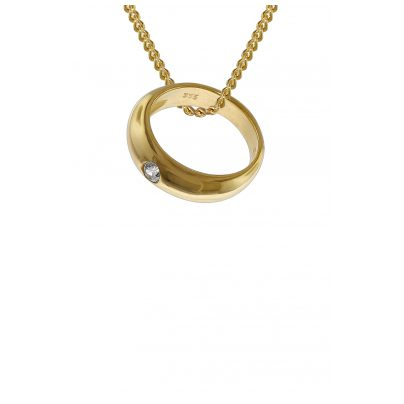 trendor 35767 Taufring mit Zirkonia 333 Gold an goldplattierter Kette 42 cm 4260435357674