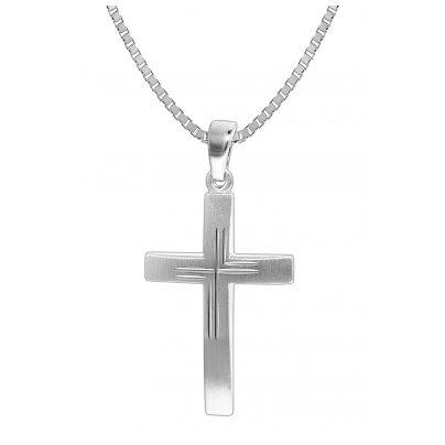 trendor 35850 Herren Silber-Halskette mit Kreuz-Anhänger 4260435358503