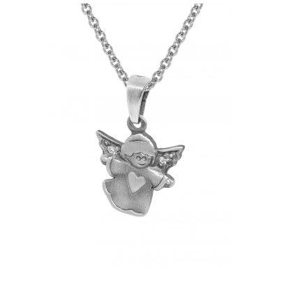trendor 35871 Kinder Silber-Halskette mit Engel-Anhänger 4260435358718