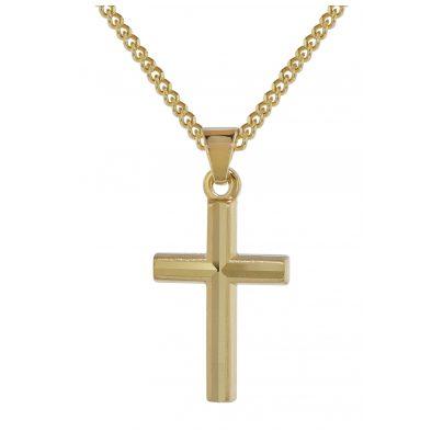trendor 35792 Gold 333 Kreuz-Anhänger für Kinder an goldplattierter Kette 4260435357926