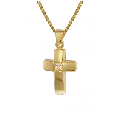 trendor 35794 Kreuz-Anhänger Gold 333 mit vergoldeter Kette für Kinder 4260435357940