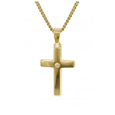 trendor 35799 Gold 14K Cross Pendant on 40 cm Gold-Plated Curb Chain Necklace 4260435357995