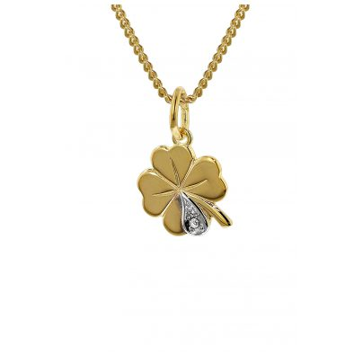 trendor 35814 Gold Four-Leaf Clover Pendant Diamond on Gold-Plated Necklace 4260435358145