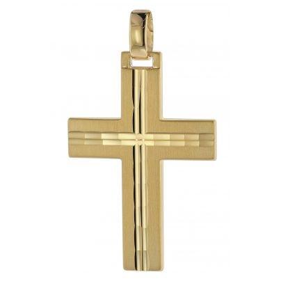 trendor 08823 Kreuz-Anhänger für Männer 585 Gold 32 mm 4260497088233