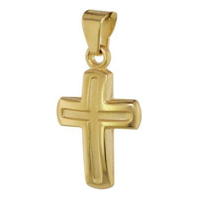 trendor 75369 Kreuz-Anhänger für Kinder 12 mm Gold 585 / 14 Karat 4260641753697