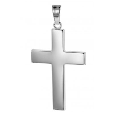 trendor 75445 Cross Pendant for Men 27 mm White Gold 585 / 14K 4260641754458
