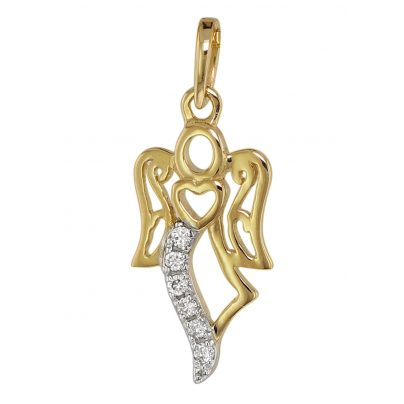 trendor 75466 Engel-Anhänger mit 6 Diamanten Gold 585 / 14K 4260641754663