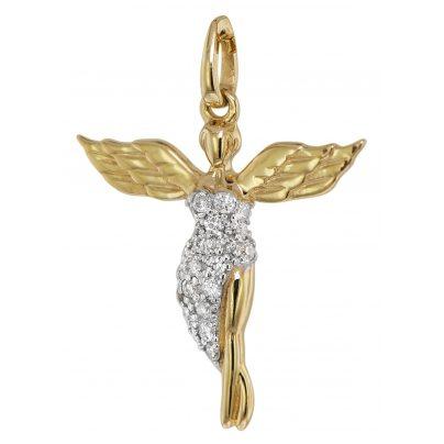 trendor 75475 Anhänger Schutzengel mit Diamanten Gelbgold 585 / 14 K 4260641754755