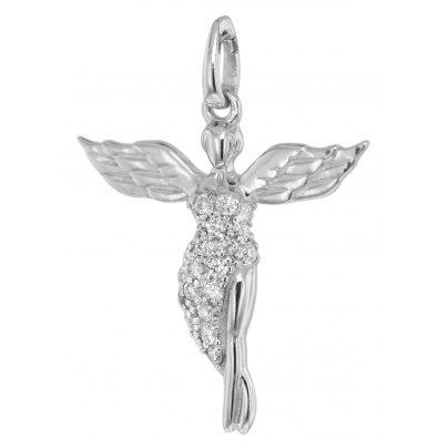 trendor 75476 Schutzengel-Anhänger mit Diamanten Weißgold 585 / 14 K 4260641754762