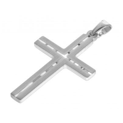 trendor 63836 Herren-Halskette mit Kreuz-Anhänger Silber 4260227763836
