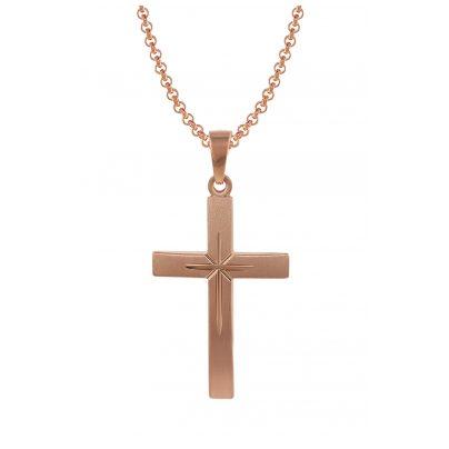trendor 79503 Silber Herrenkette mit Kreuz-Anhänger roségold plattiert 4260333979503