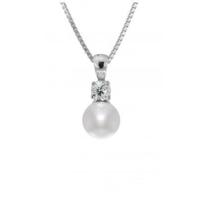 trendor 35906 Silber-Halskette mit Perl-Anhänger 4260435359067