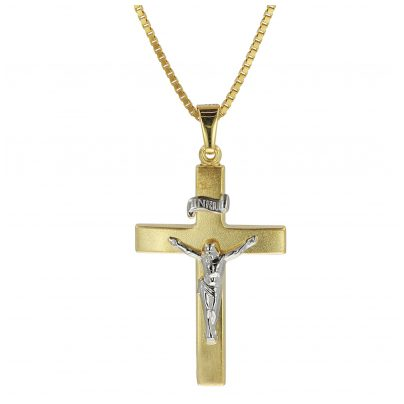 trendor 08489 Crucifix Pendant Gold 333/8K with Gold Plated Mens Necklace