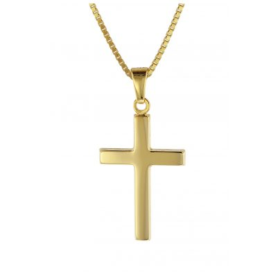 trendor 08500 Kreuz Gold 333 mit goldplattierter Kette für Kinder und Damen