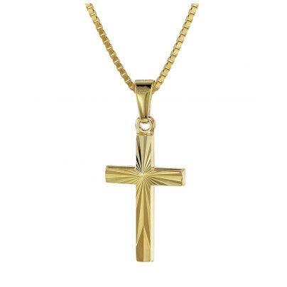 trendor 08508 Kreuz für Kinder Gold 333/8 Karat 18 mm + goldplattierter Kette