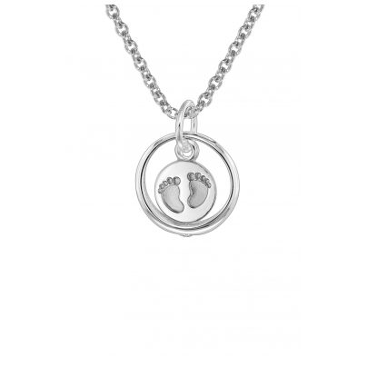 trendor 08467 Silver Christening Ring Baby Footprints Kids Necklace 4260497084679