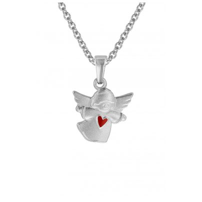 trendor 08470 Silver Kids Necklace Floating Angel with Red Heart 4260497084709