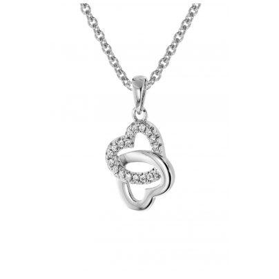 trendor 08605 Silver Pendant Heart In Heart With Necklace 4260497086055