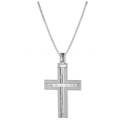 trendor 08803 Kreuz mit Halskette für Männer 925 Silber 60 cm 4260497088035