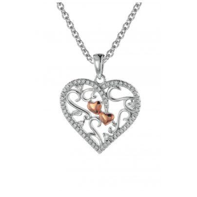 trendor 08812 Herz-Anhänger mit Kette für Damen Silber 925 Bicolor 4260497088127