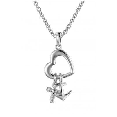 trendor 08814 Glaube Liebe Hoffnung Anhänger mit Halskette Silber 925 4260497088141
