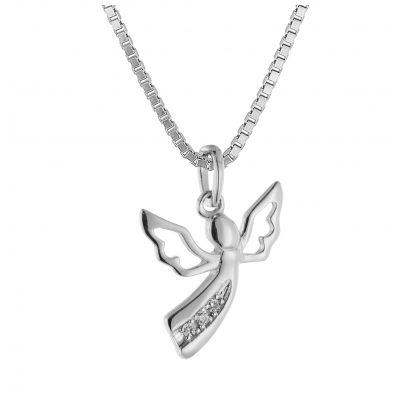 trendor 08843 Engel Anhänger Weißgold 585 mit 3 Diamanten an Silberkette 4260497088431