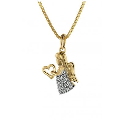 trendor 08844 Angel Pendant Gold 585 with 14 Diamonds on Gold-Plated Necklace