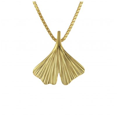 trendor 08950 Gingko-Blatt mit Venezianer Halskette Gold 333/8 Karat